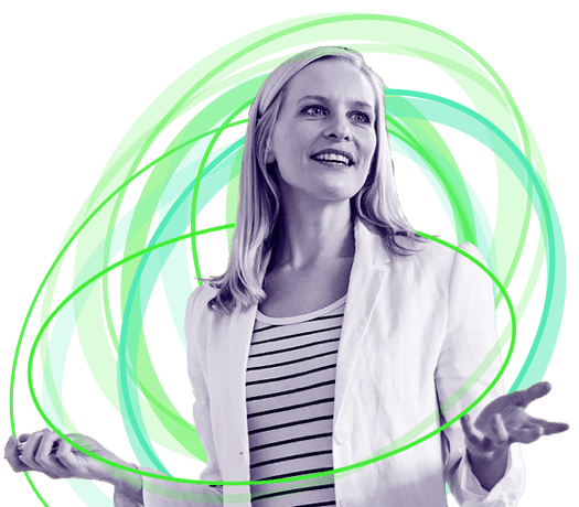 Woman with her arms out explain that GreenOrbit Intranet is going places.