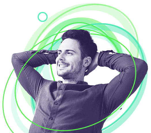 Man with arms on his head smiling at an affordable intranet portal.