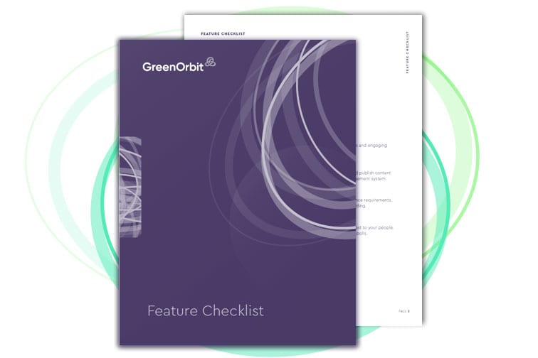 GreenOrbit Intranet pages of Features Checklist.