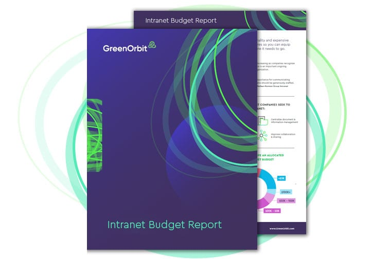 GreenOrbit Intranet pages of Budgets Infographic Report.