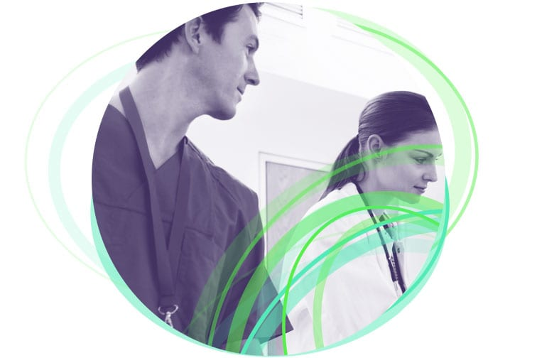 Man looking at a woman for the Benson Radiology Intranet case study.