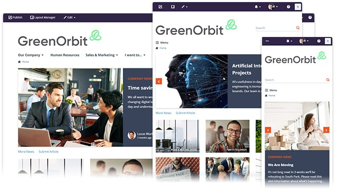 Screenshot of greenorbit customization to create and manage your intranet for optimal engagement and performents to match your brand
