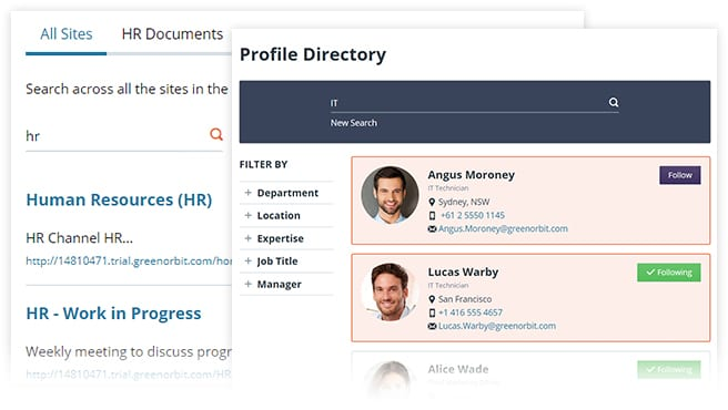 Screenshot of greenorbit enterprise search for hr and profile directory.