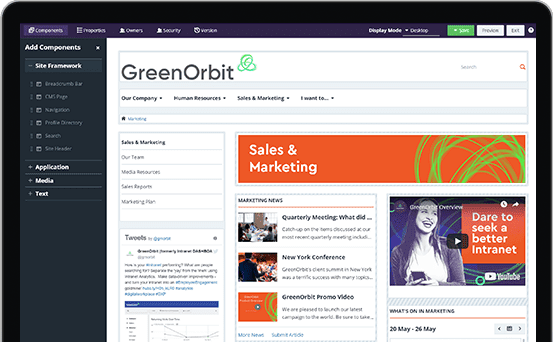A group of icons shows different features of the GreenOrbit intranet software.