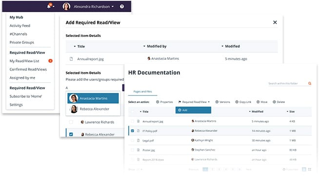 Screenshot of greenorbit making hr documentation page required read and view.