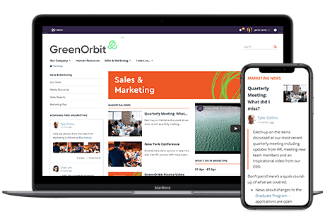 Screenshots of how GreenOrbit demo site looks like in a desktop and a mobile.