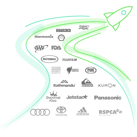 Space rocket with brands logos in the pathways it's just travelled showing GreenOrbit Intranet is going further and faster.